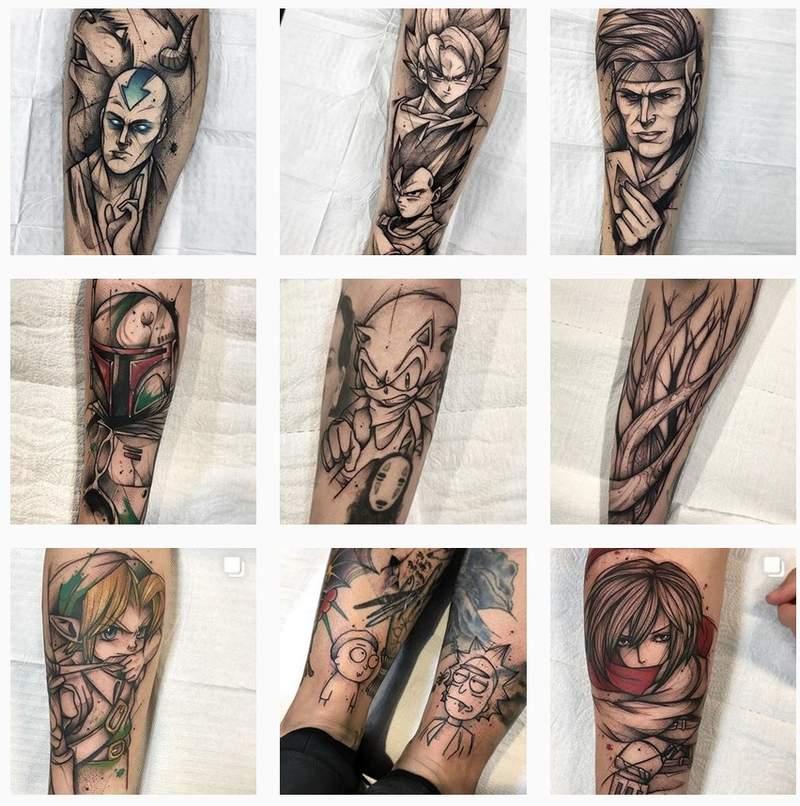 艺术家的动漫刺青 二次元动漫纹身图案超帅气